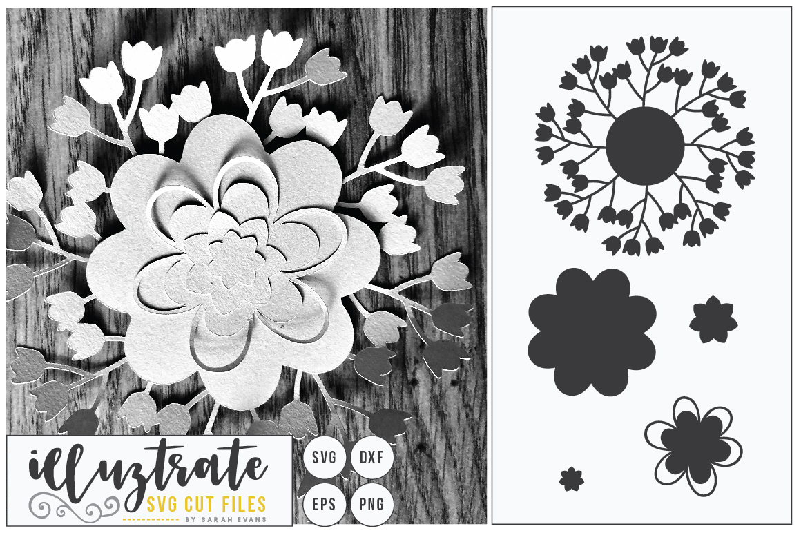 Paper Flower Template Bundle | Paper Cutting Bundle SVG example image 11