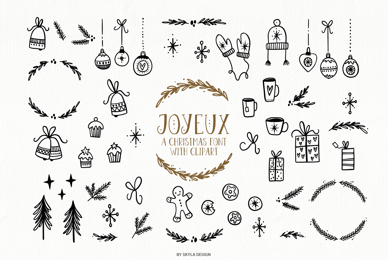 Joyeux Christmas font & Dingbat clipart illustrations example image 7