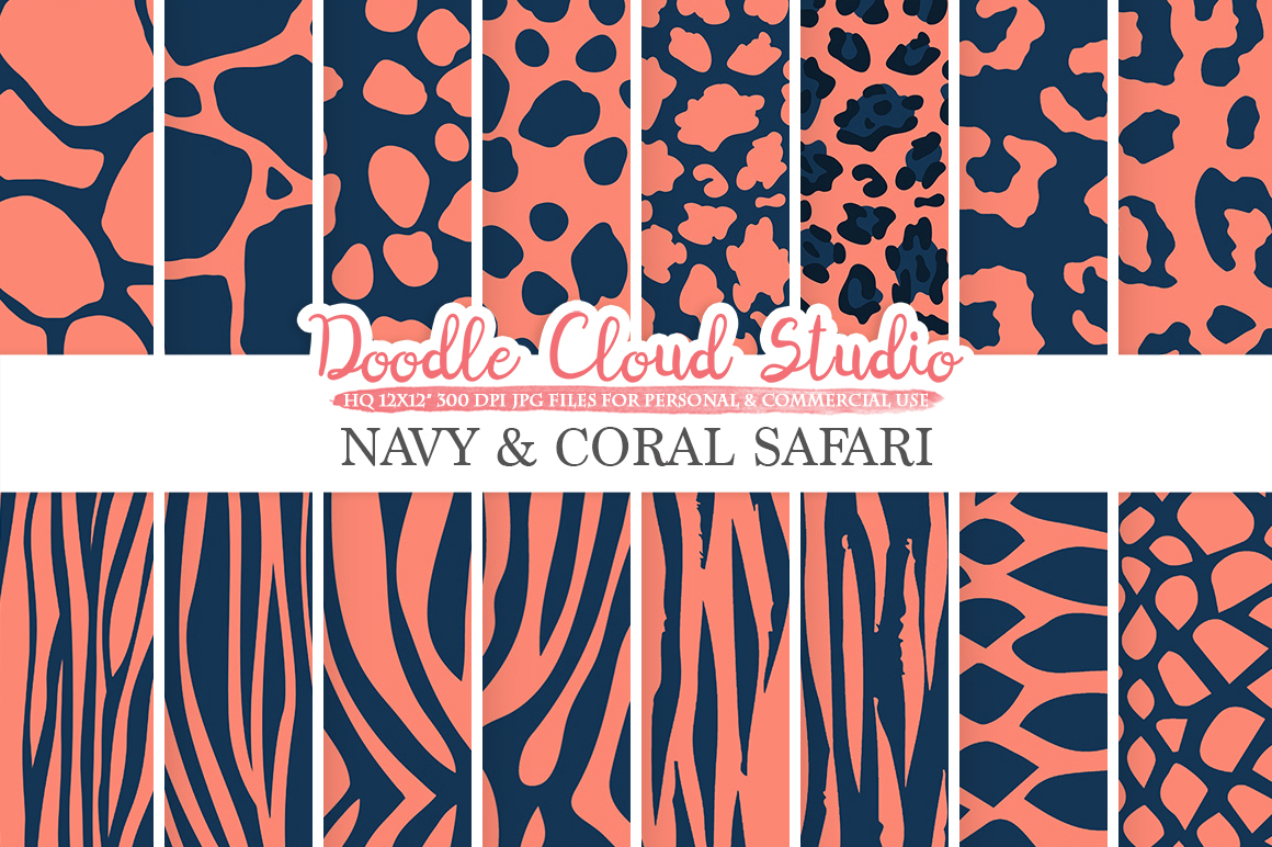 Navy and Coral Animal Safari digital paper, Fur patterns Giraffe Zebra Leopard Snake Tiger Dark Blue backgrounds, Personal & Commercial Use example image 1