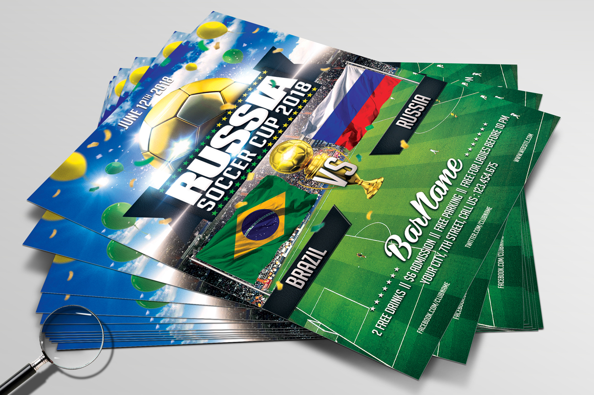 Soccer Russia World Cup 2018 | 2in1 Flyer Template example image 4