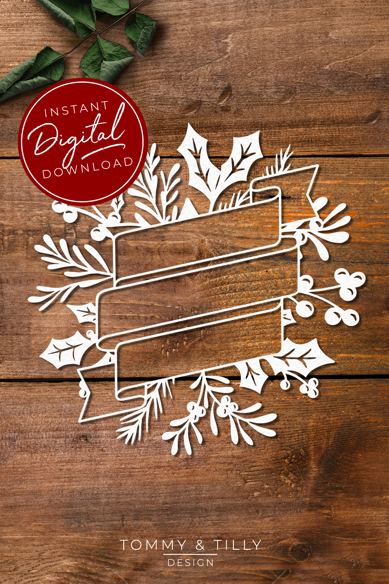 Christmas Wreath No.4 - SVG EPS DXF PNG PDF JPG Cut File example image 6