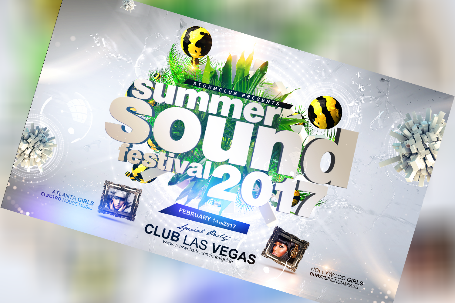 Summer Sound Festival Flyer Template example image 1