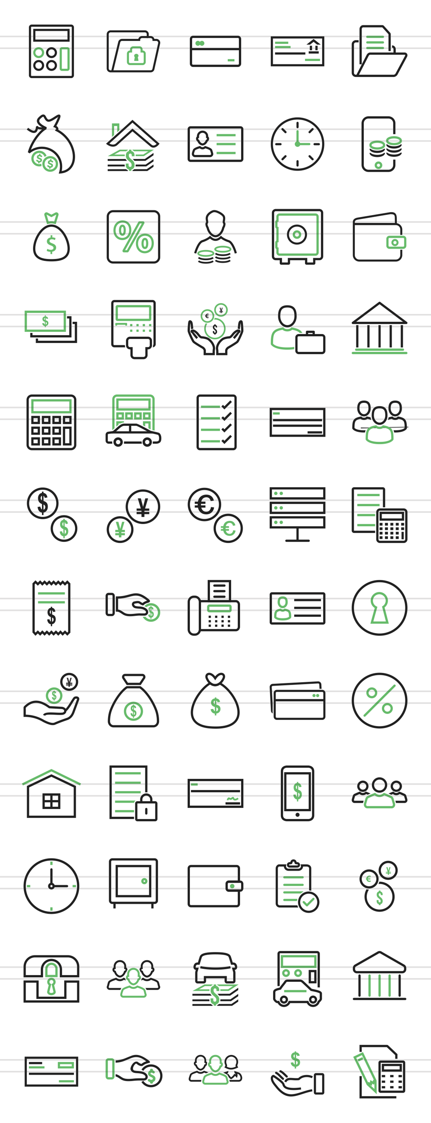 60 Banking Line Green & Black Icons example image 2