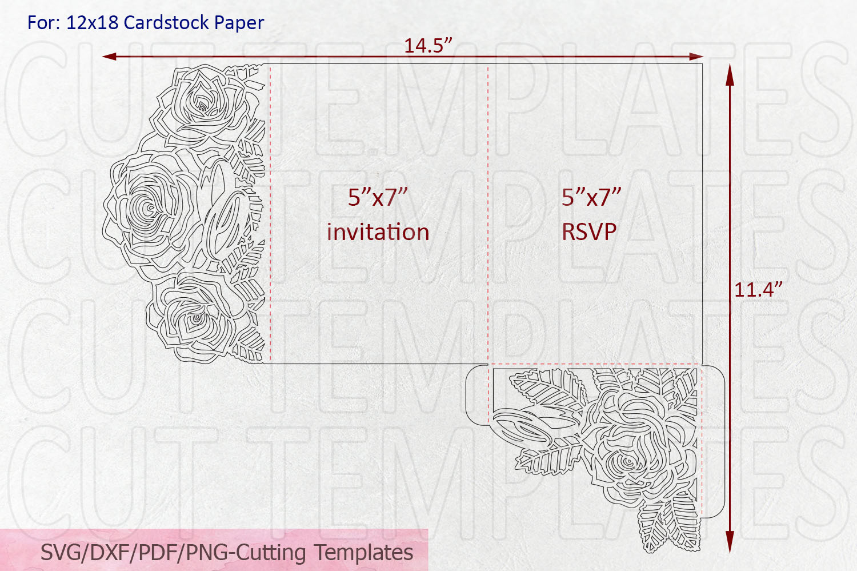 Roses wedding invitation Tri Fold Pocket Envelope set svg example image 8