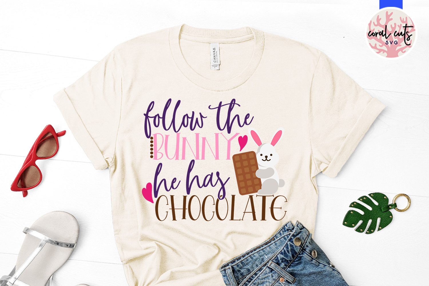 Follow the bunny he has chocolate - Easter SVG EPS DXF PNG example image 2