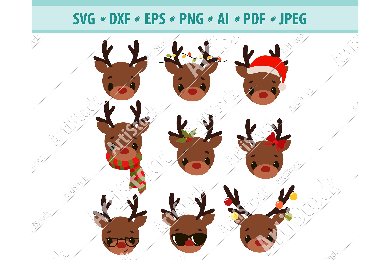 Reindeer svg, Reindeer head svg, Christmas svg,Dxf, Png, Eps example image 1
