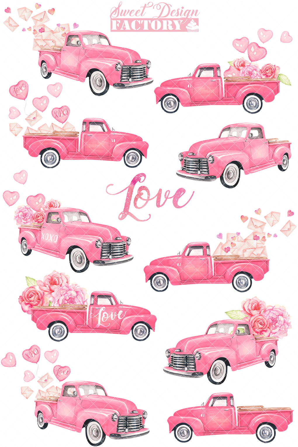 Valentine's day truck watercolor clipart example image 2