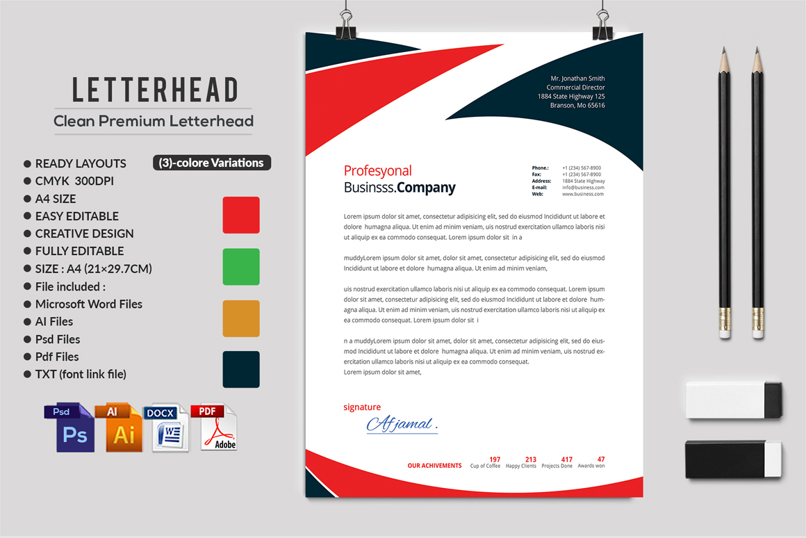 12 Clean Rsume Invoice and Letterhead Bundle example image 16