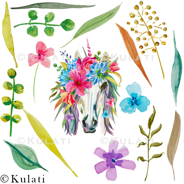 Floral Unicorn Graphics / Clipart / Illustrations example image 2