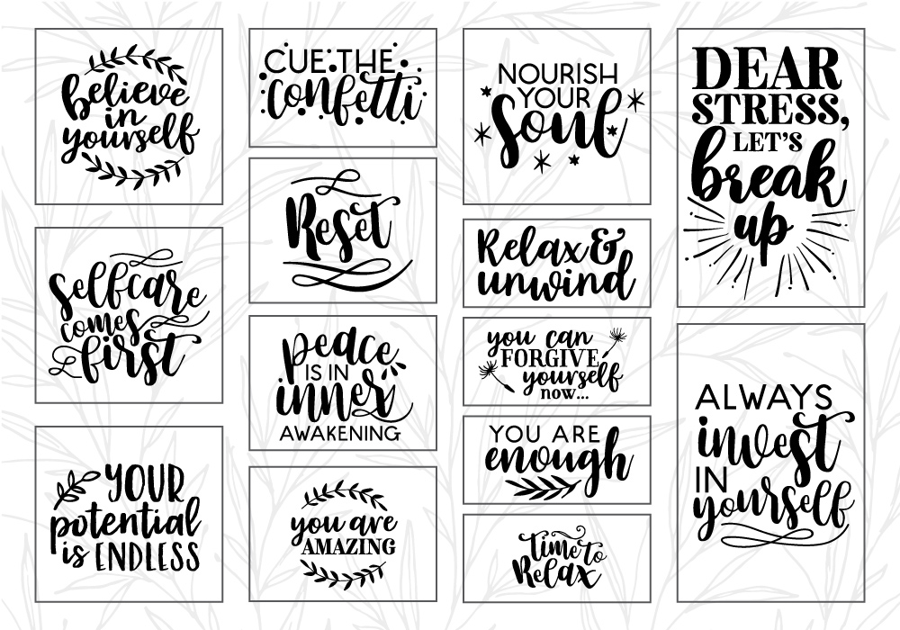 RELAX Therapeutic Quote SVG Cut File Bundle example image 3