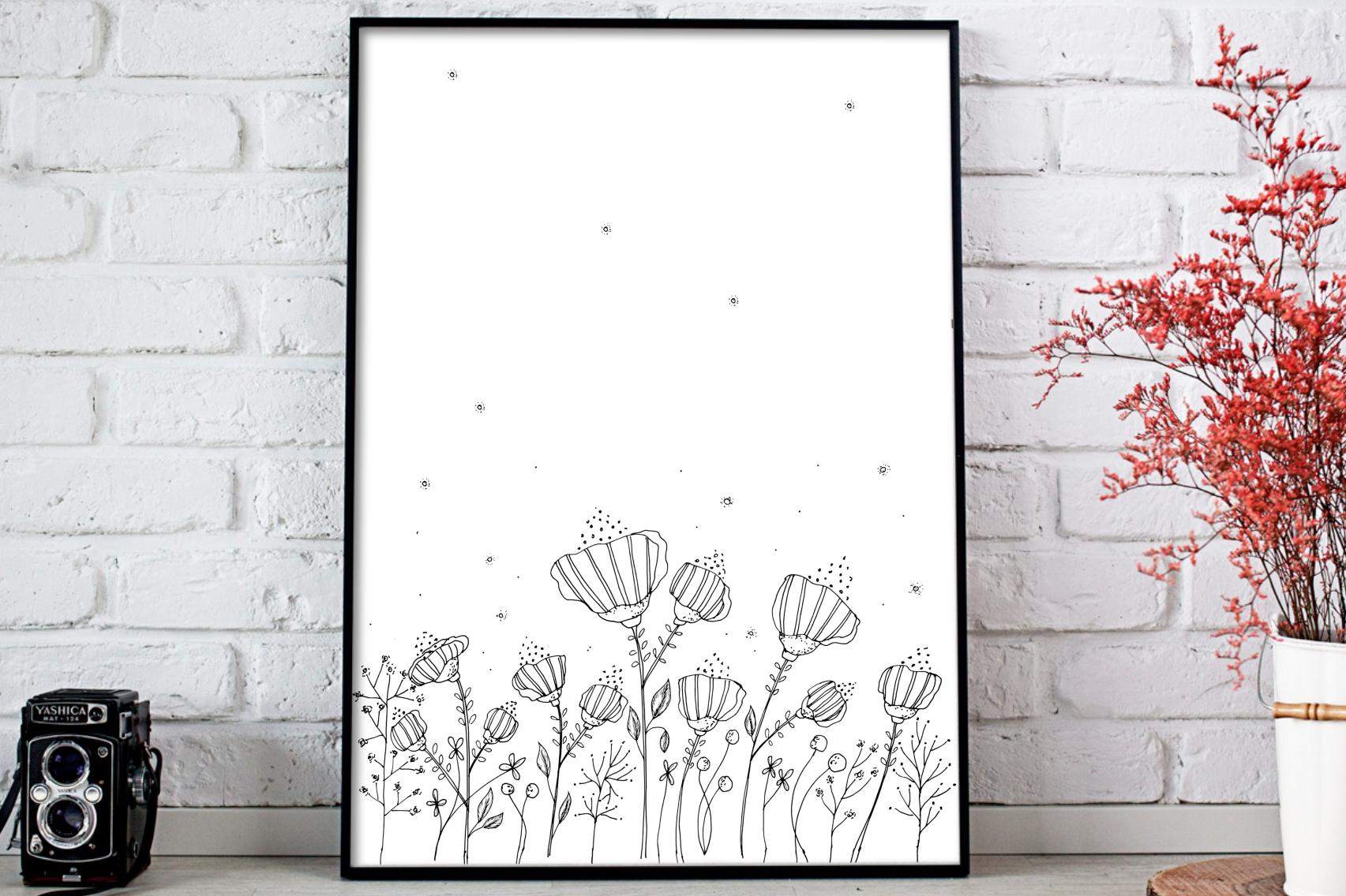Black Floral Digital Art, A1, SVG example image 1