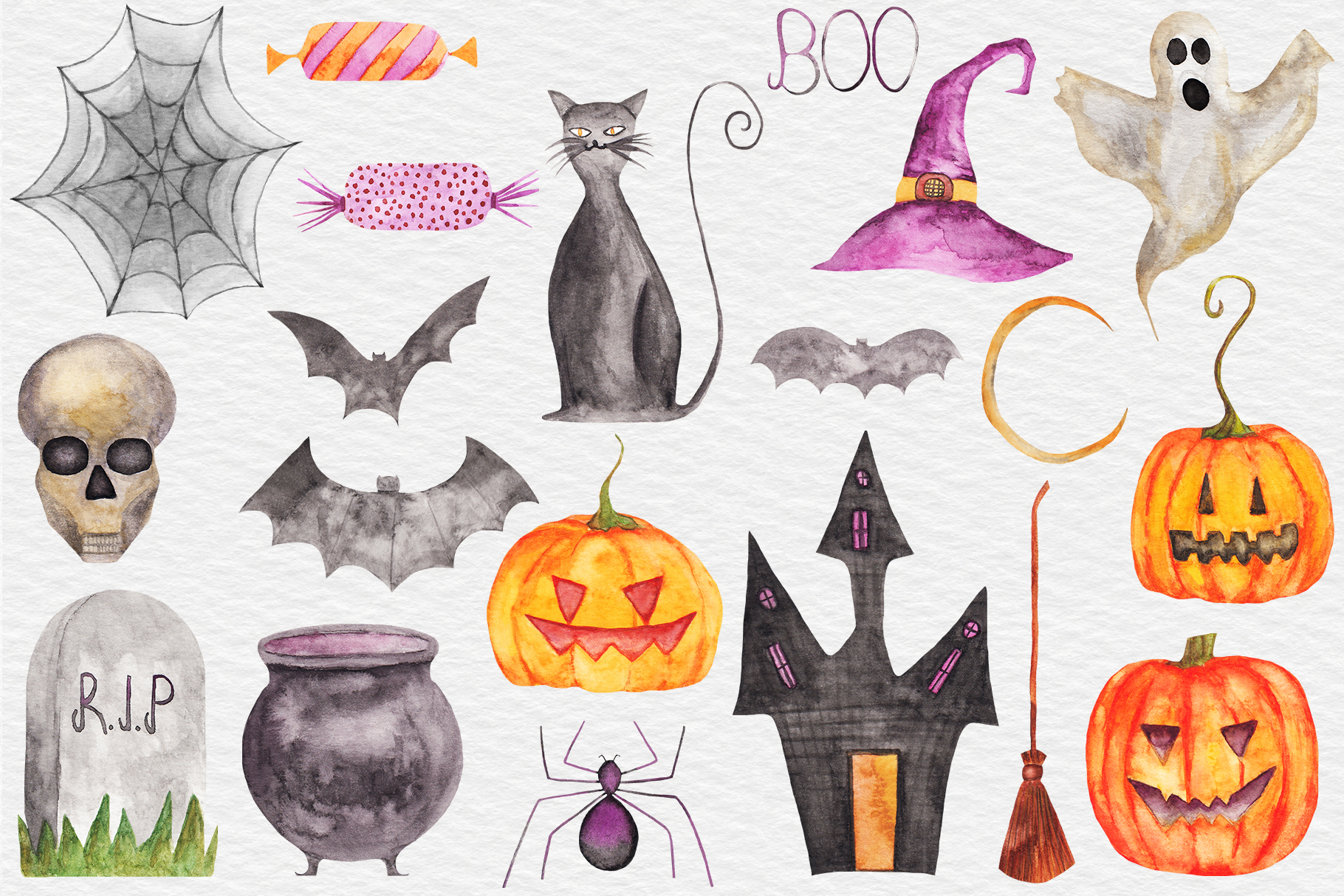 Watercolor Halloween Clipart, Pumpkin, Fall Autumn Clipart example image 2