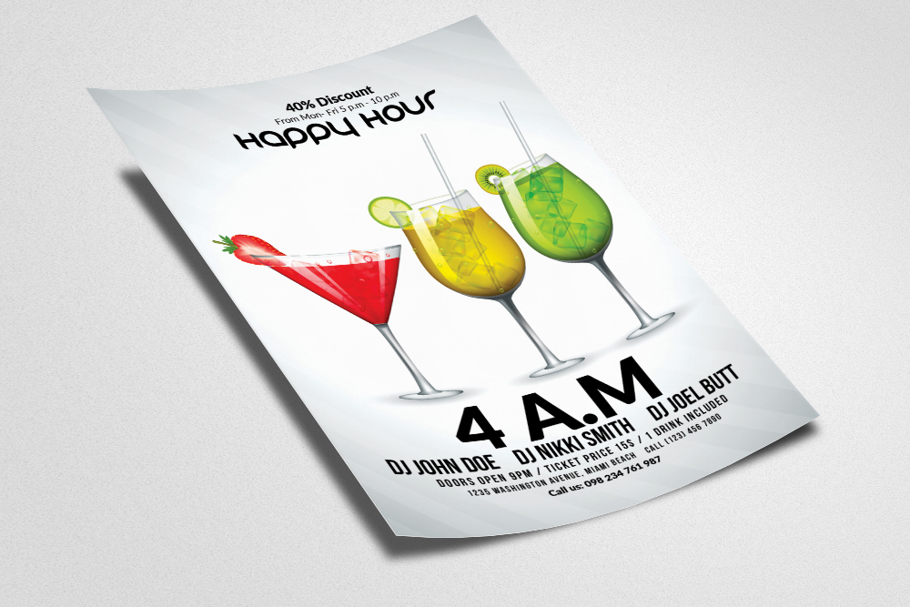 Happy Hour Flyer Template 09 example image 3