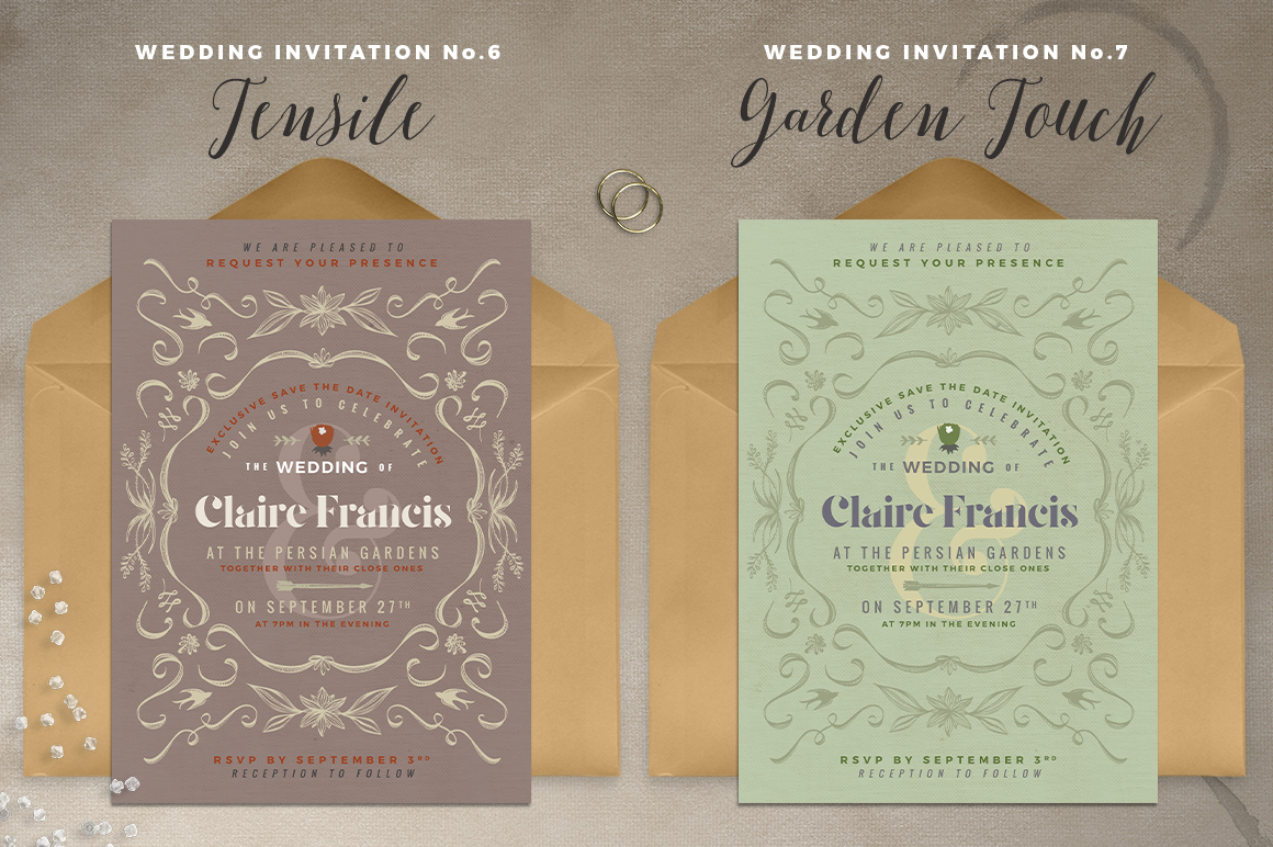 7 Vintage Deco Wedding Invitations I example image 5