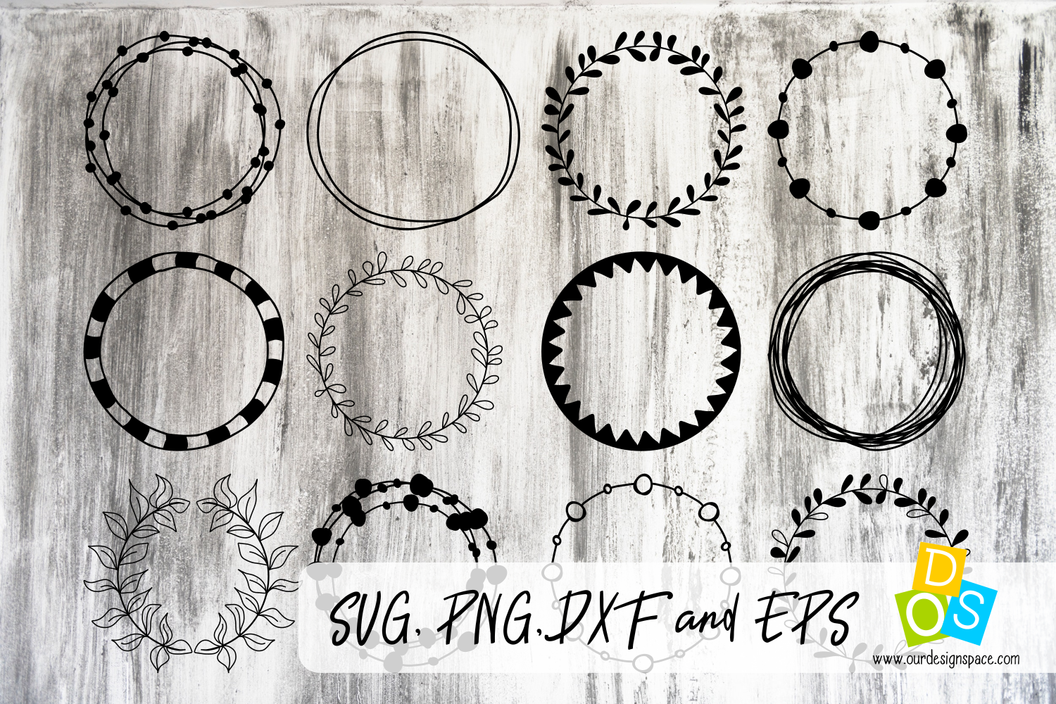 Circle Frames SVG, PNG, DXF and EPS files example image 1