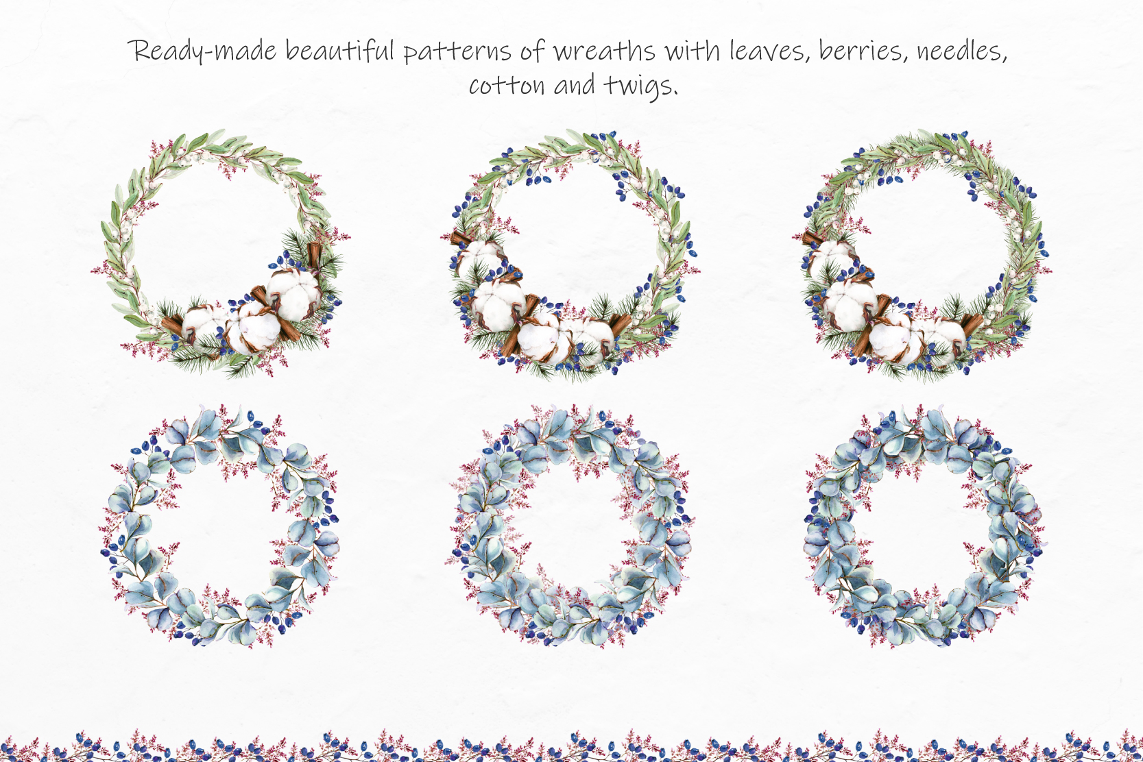 Watercolor Winter Wreaths | Clipart example image 2