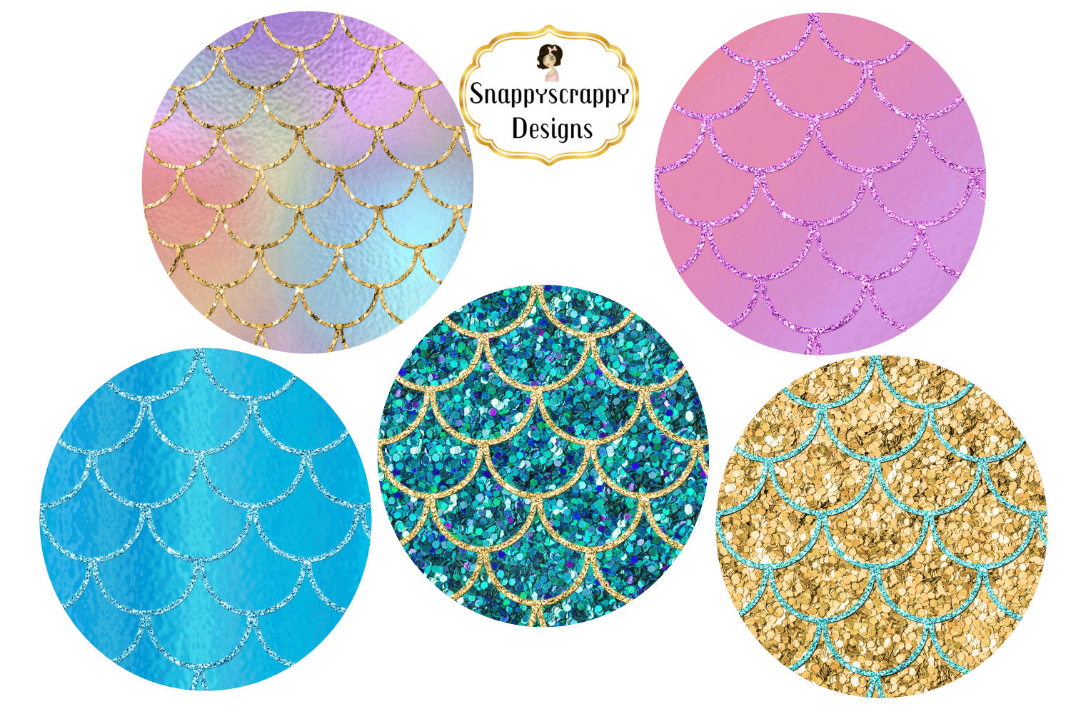 Iridescent Mermaid Scales Background Papers Set 1 example image 3