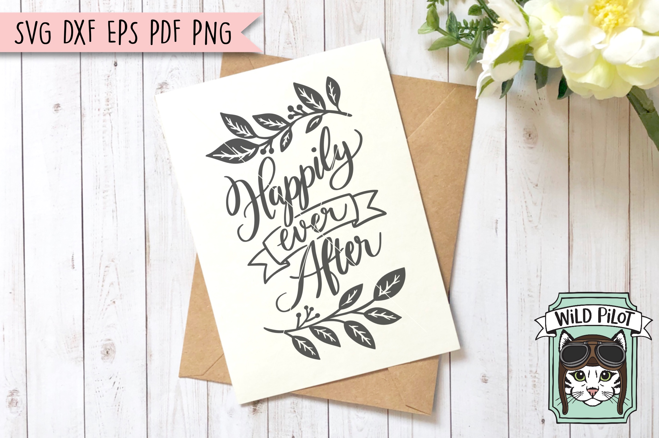 Happily Ever After SVG file, Wedding Sign Cut File, Married example image 1