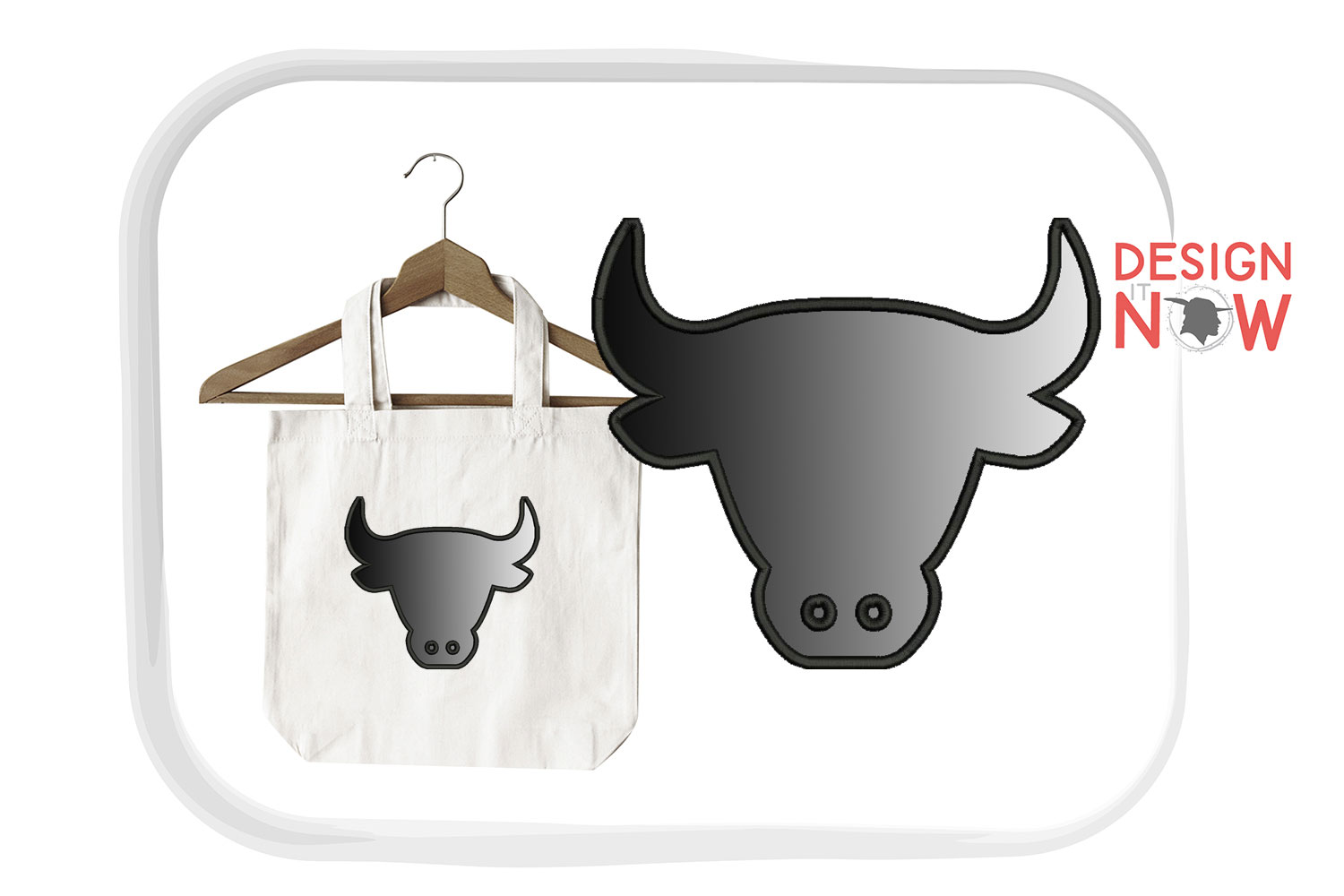 Bull Head Applique Embroidery Design, Embroidery Pattern example image 3