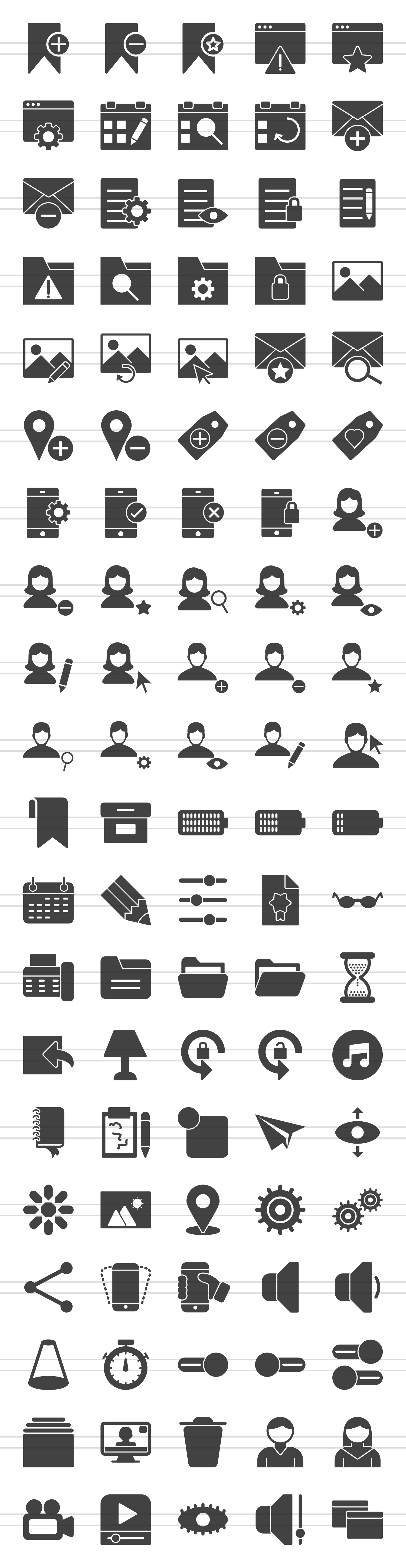 100 App & Web Interface Glyph Icons example image 2
