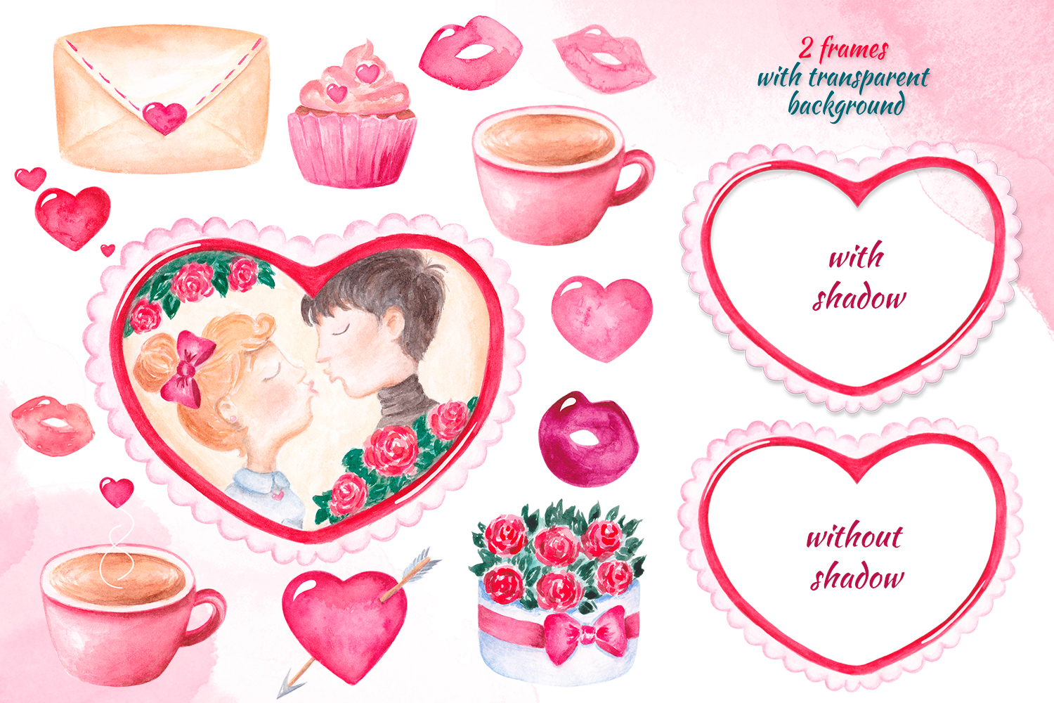 Valentine's day clipart Watercolor Love clipart Heart frame example image 2