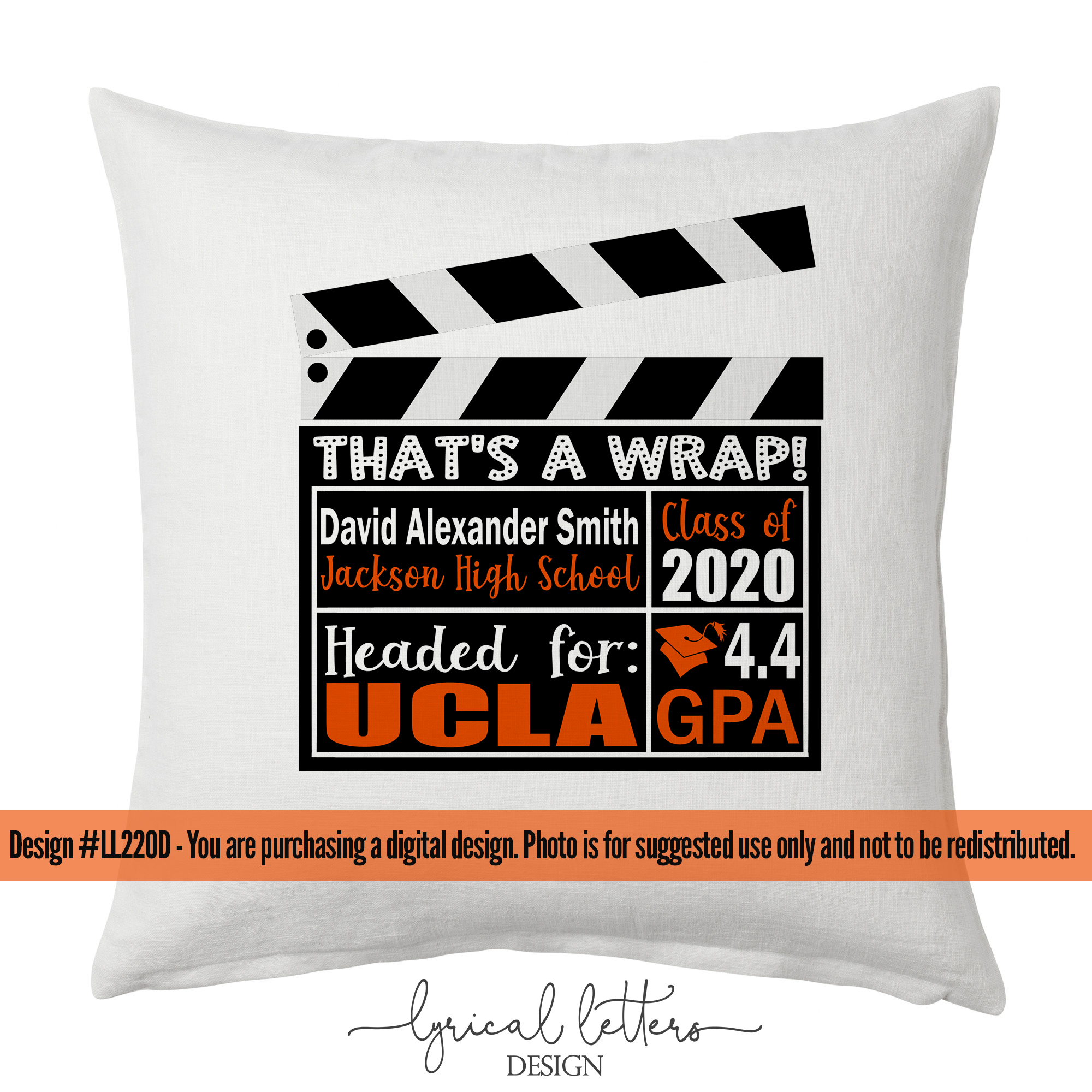 Class of 2020 Theater That's a Wrap Graduation SVG LL220D example image 2