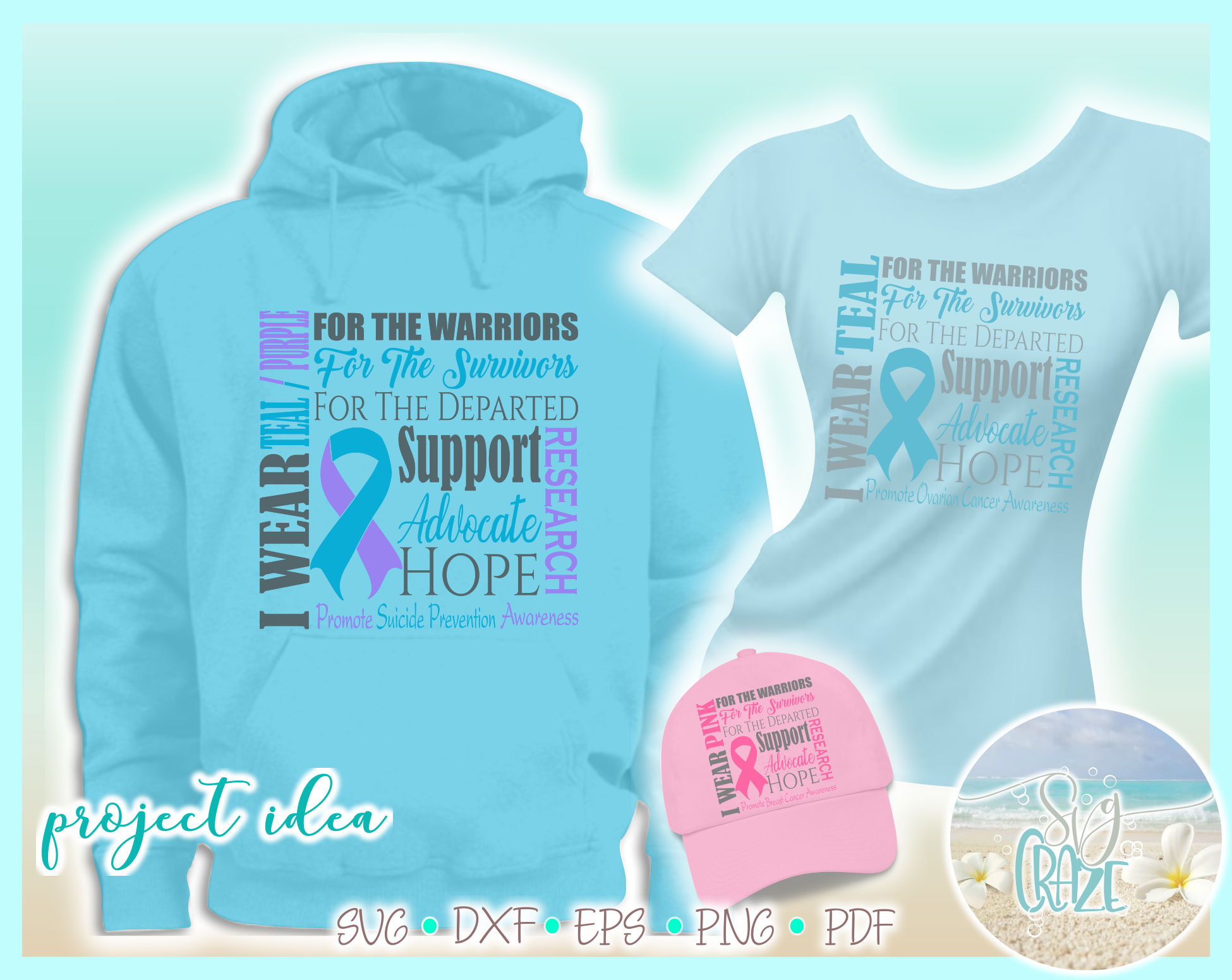 Awareness Ribbon Bundle SVG Dxf Eps Png files example image 2