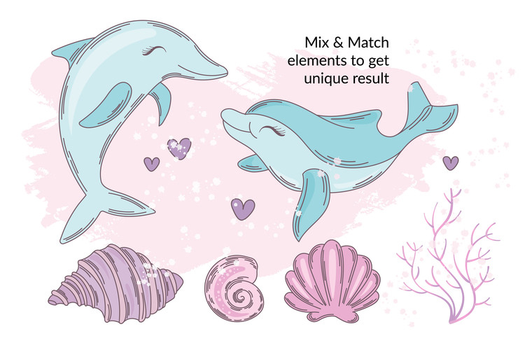 MERMAID IN LOVE Tropical Travel Vector Illustration Set example image 5