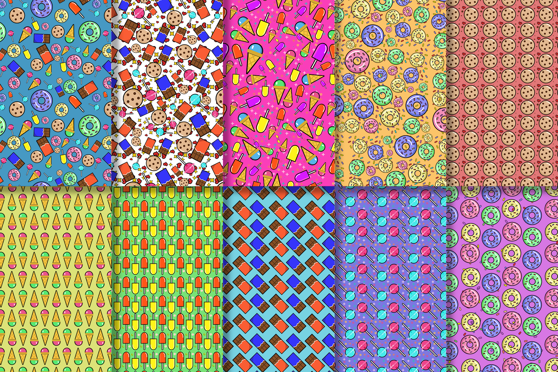 10 Sweets Seamless Patterns example image 3