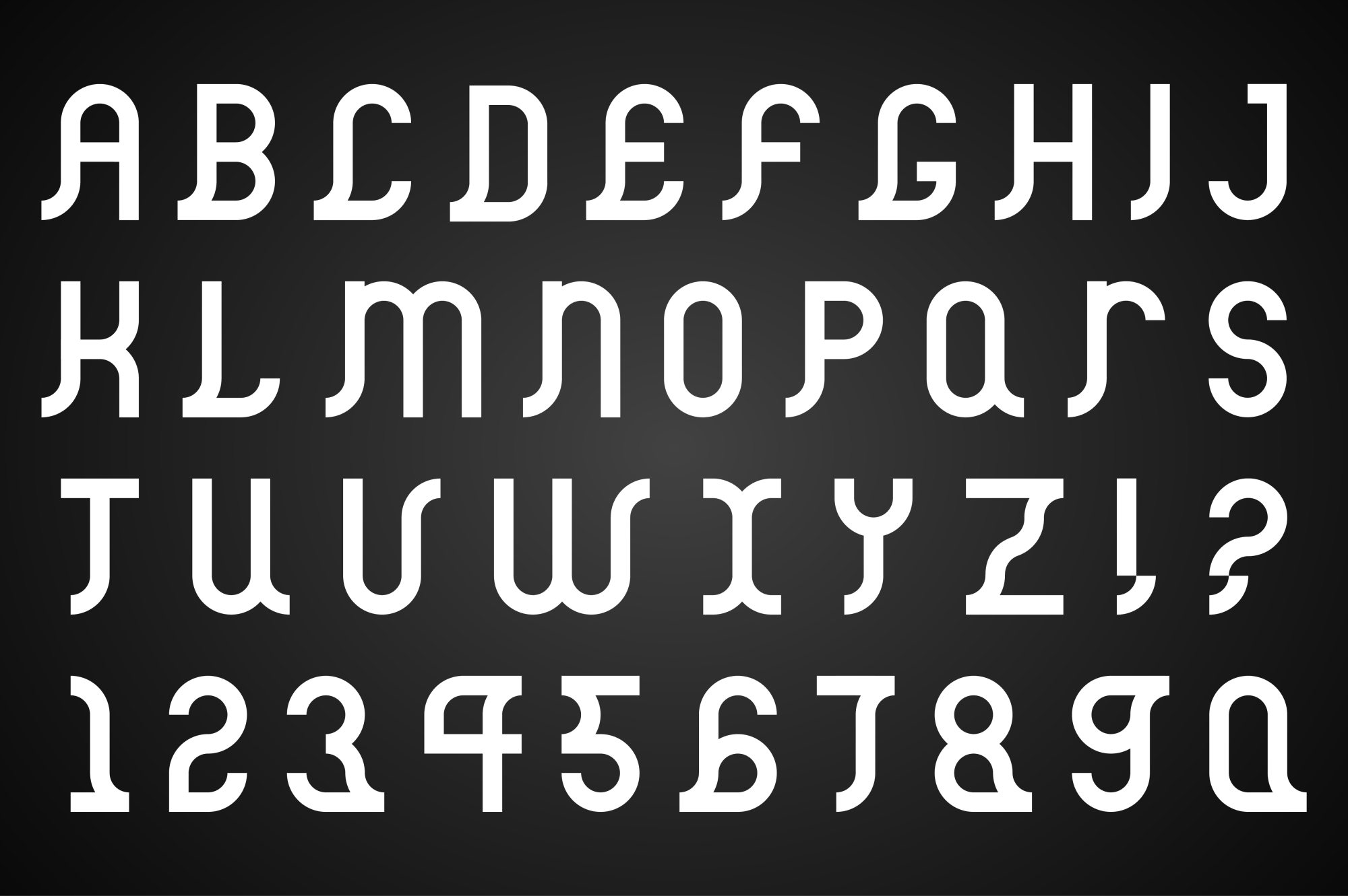 Vector alphabet set. B&W Font. example image 1