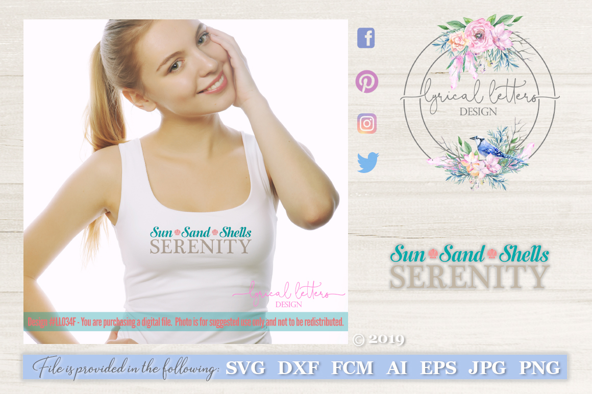 Sun Sand Shells Serenity SVG DXF Cut File LL034F example image 1