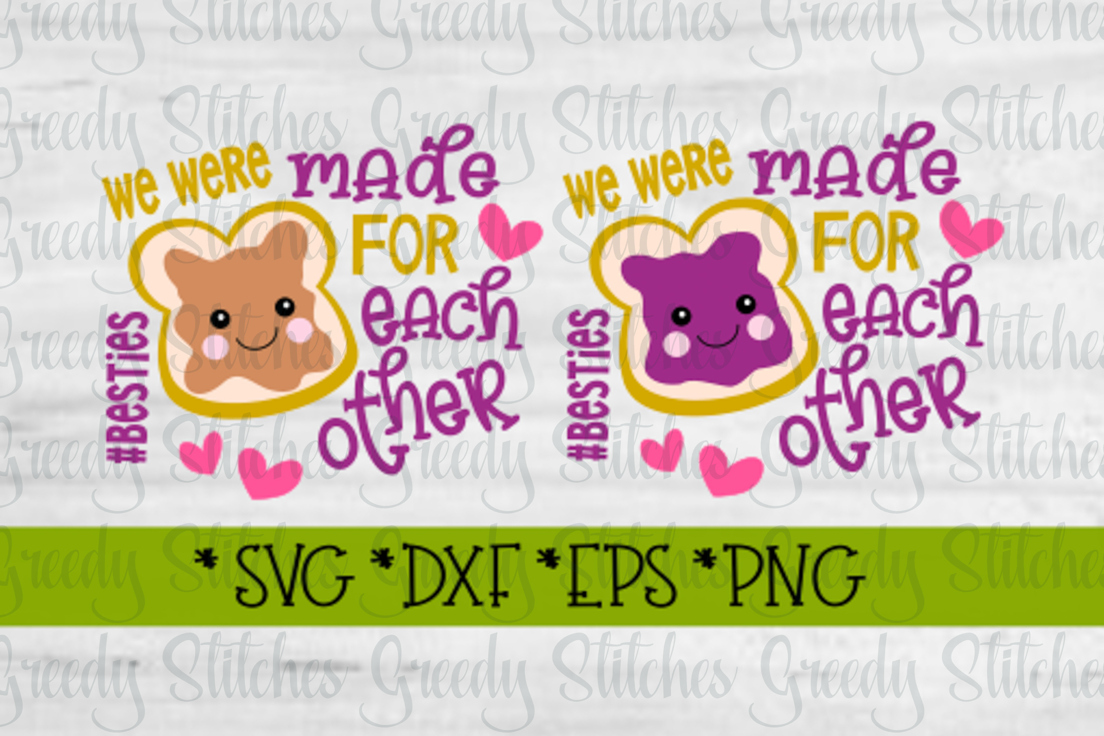 Peanut Butter & Jelly SVG DXF EPS PNG | Best Friends SVG DXF example image 15