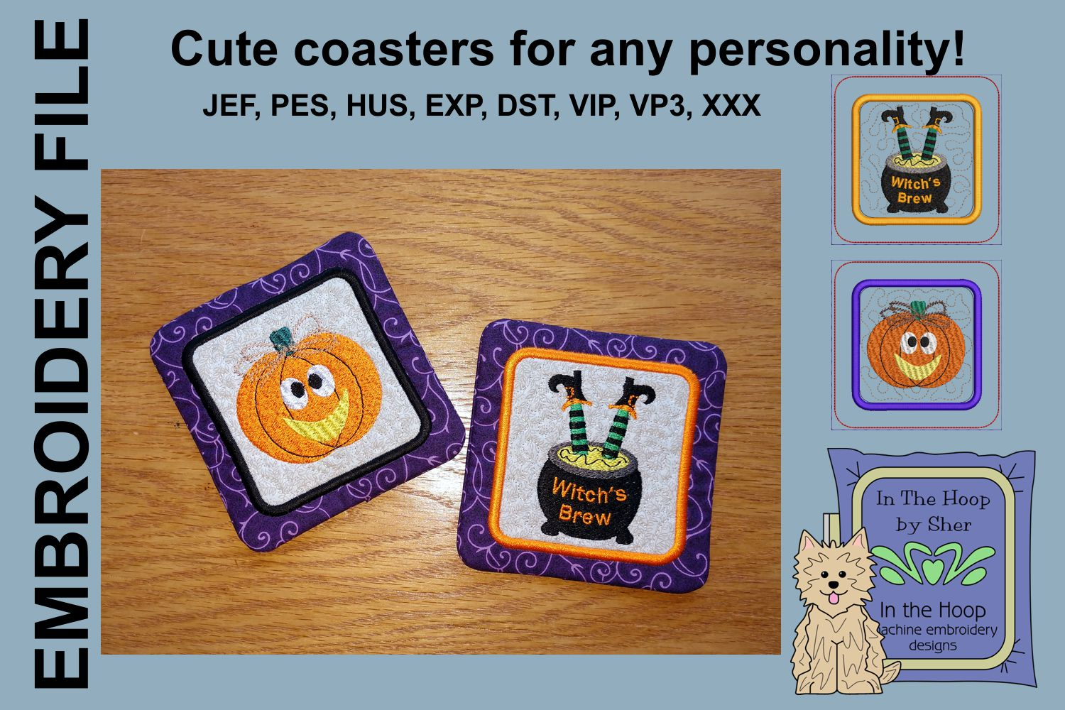 Prim Pumpkin & Witch Coasters - 4 x 4 and 5 x 7 Hoops example image 1