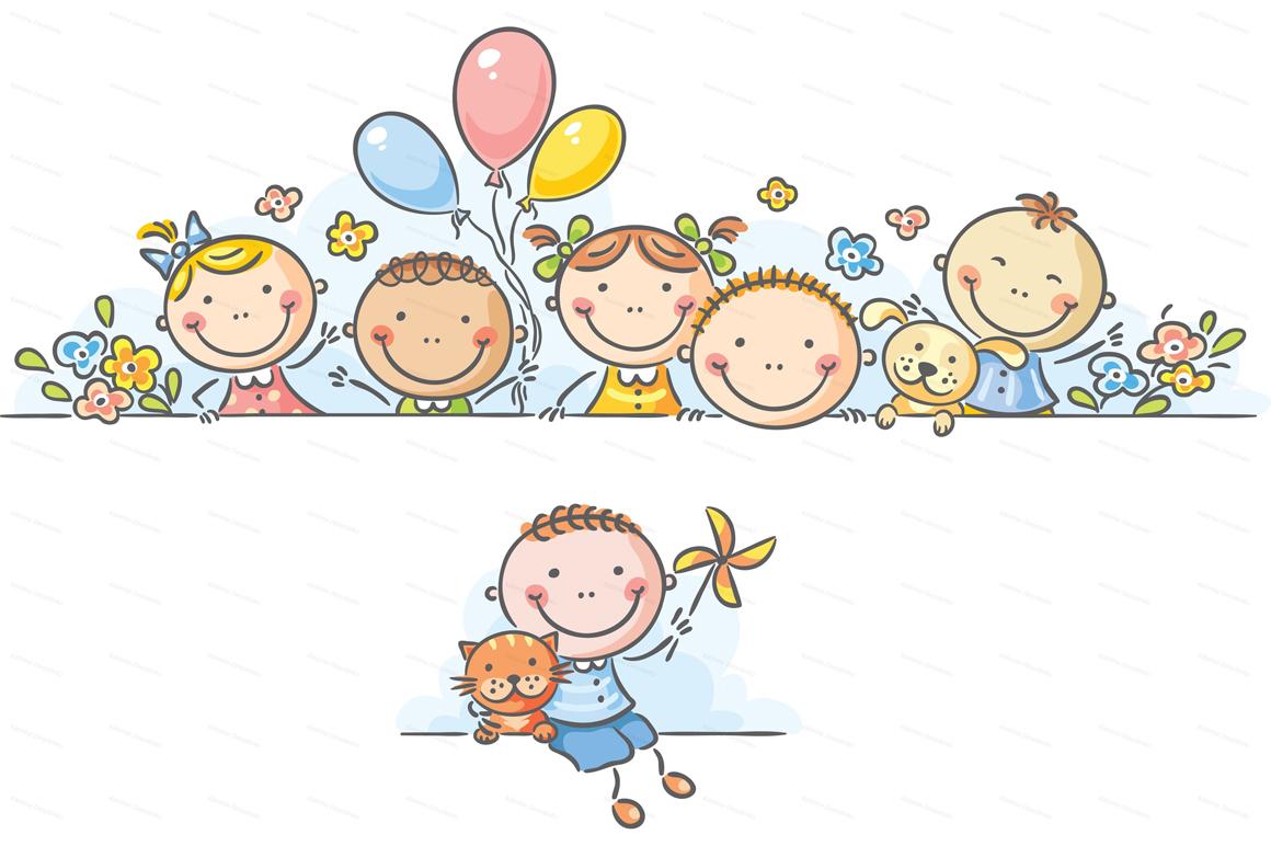 Happy Cartoon Kids Bundle, children doodle, kids doodle example image 14