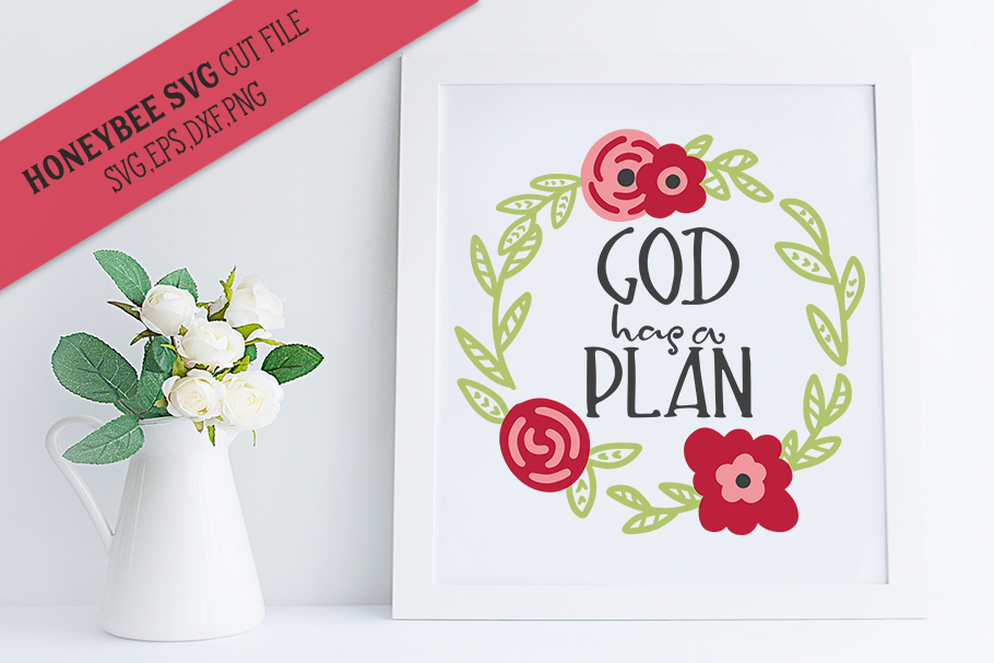 God Has A Plan Wreath SVG Cut file example image 1