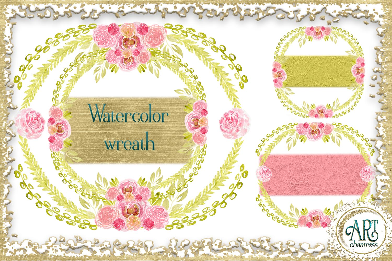 Watercolor Gold Floral Blush pink flower frame - 5 elements example image 1