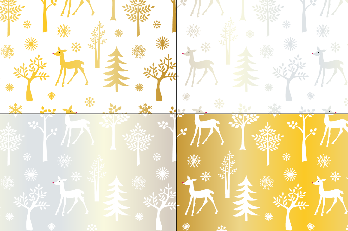 Seamless Silver & Gold Holiday Patterns example image 4