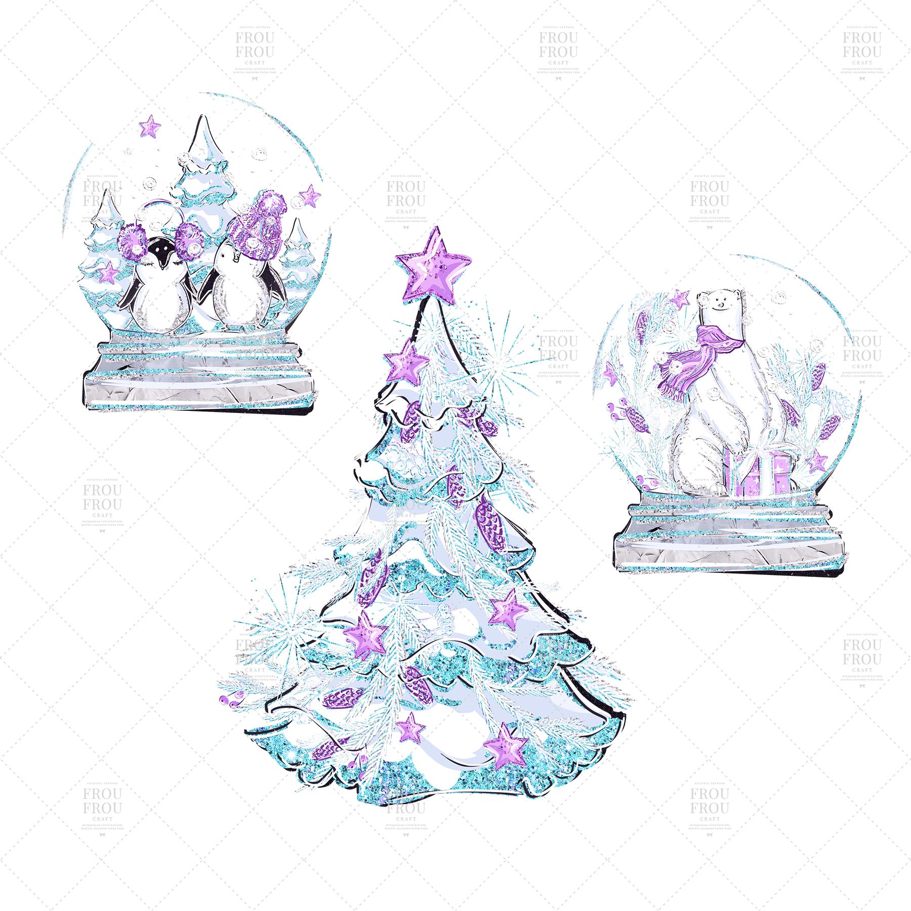 Winter Christmas Tree Penguin Bear Clip Art example image 7