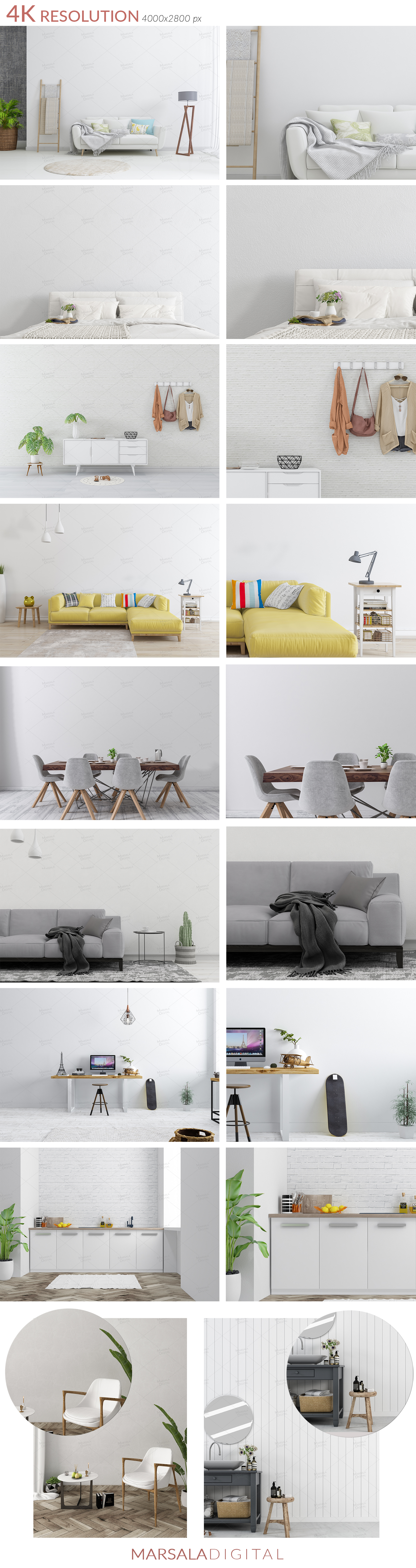 Massive Interior Wall Mockup, Frame Mockup Bundle FREE sampl example image 5