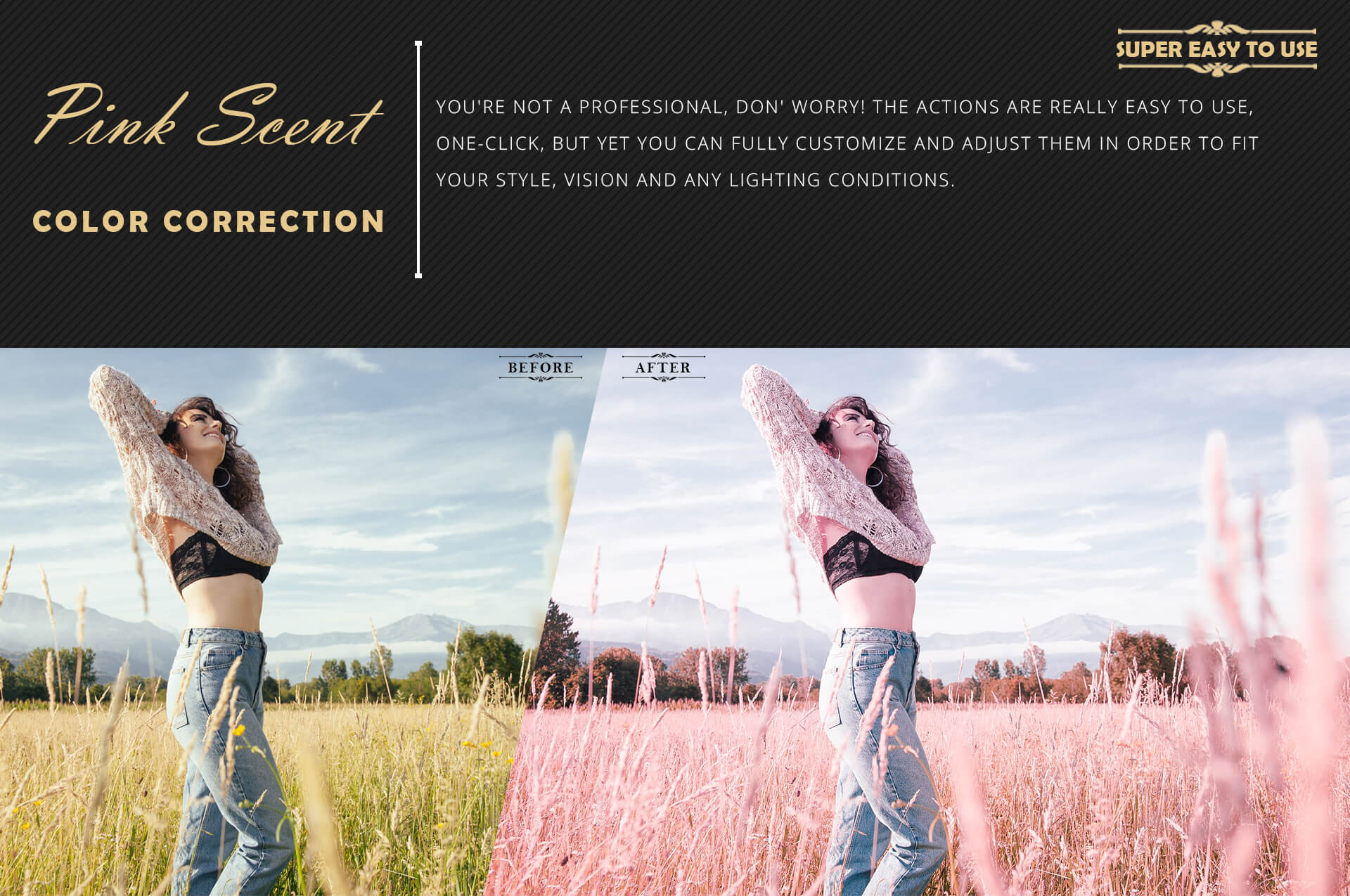 Neo Pink Scent Color Grading photoshop actions example image 5