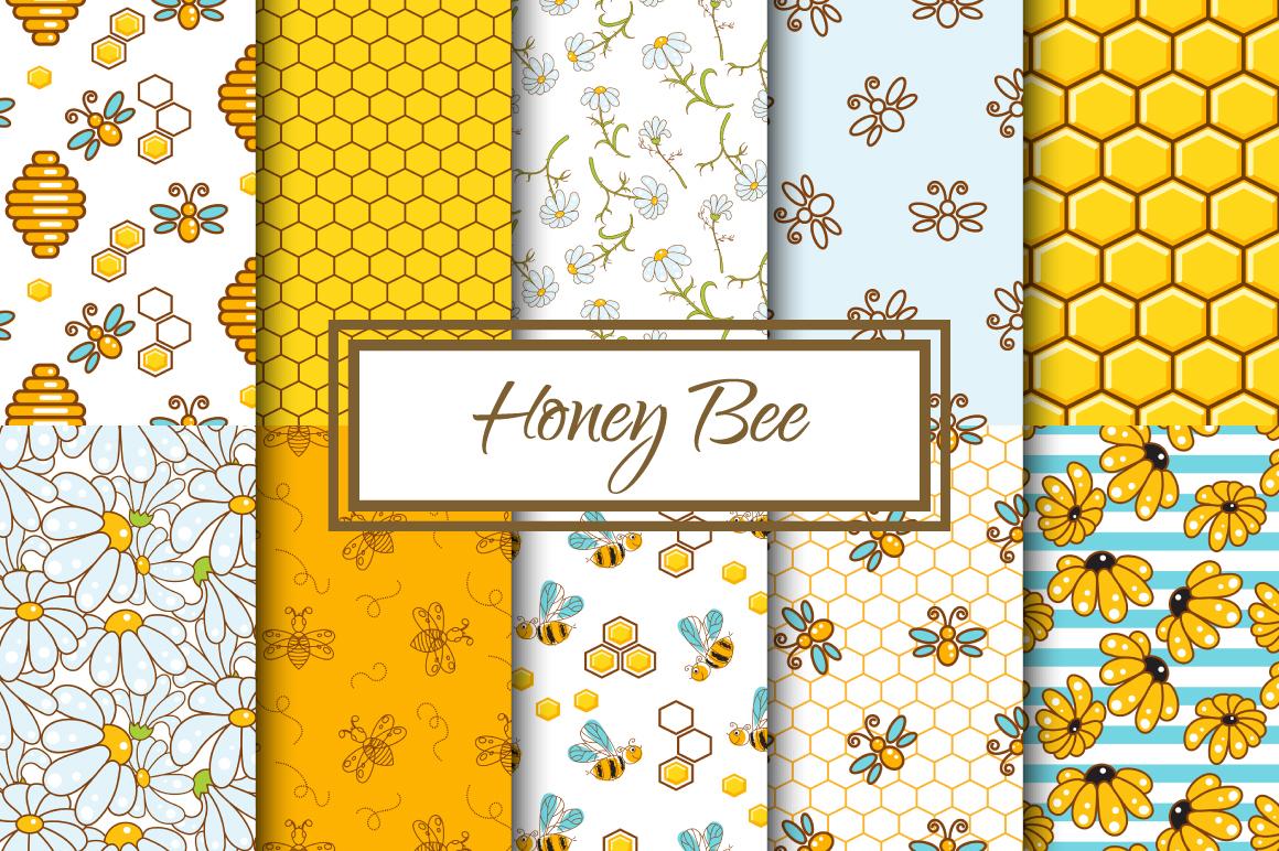 Honey Bee Seamless Patterns example image 1