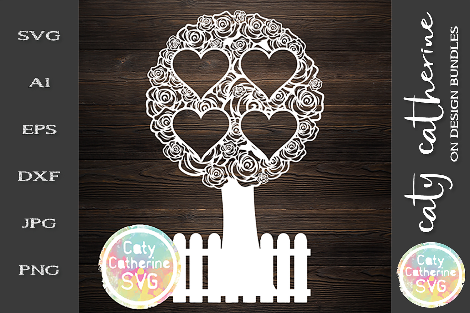 Rose Family Tree With Fence Four Hearts SVG Cut File example image 1