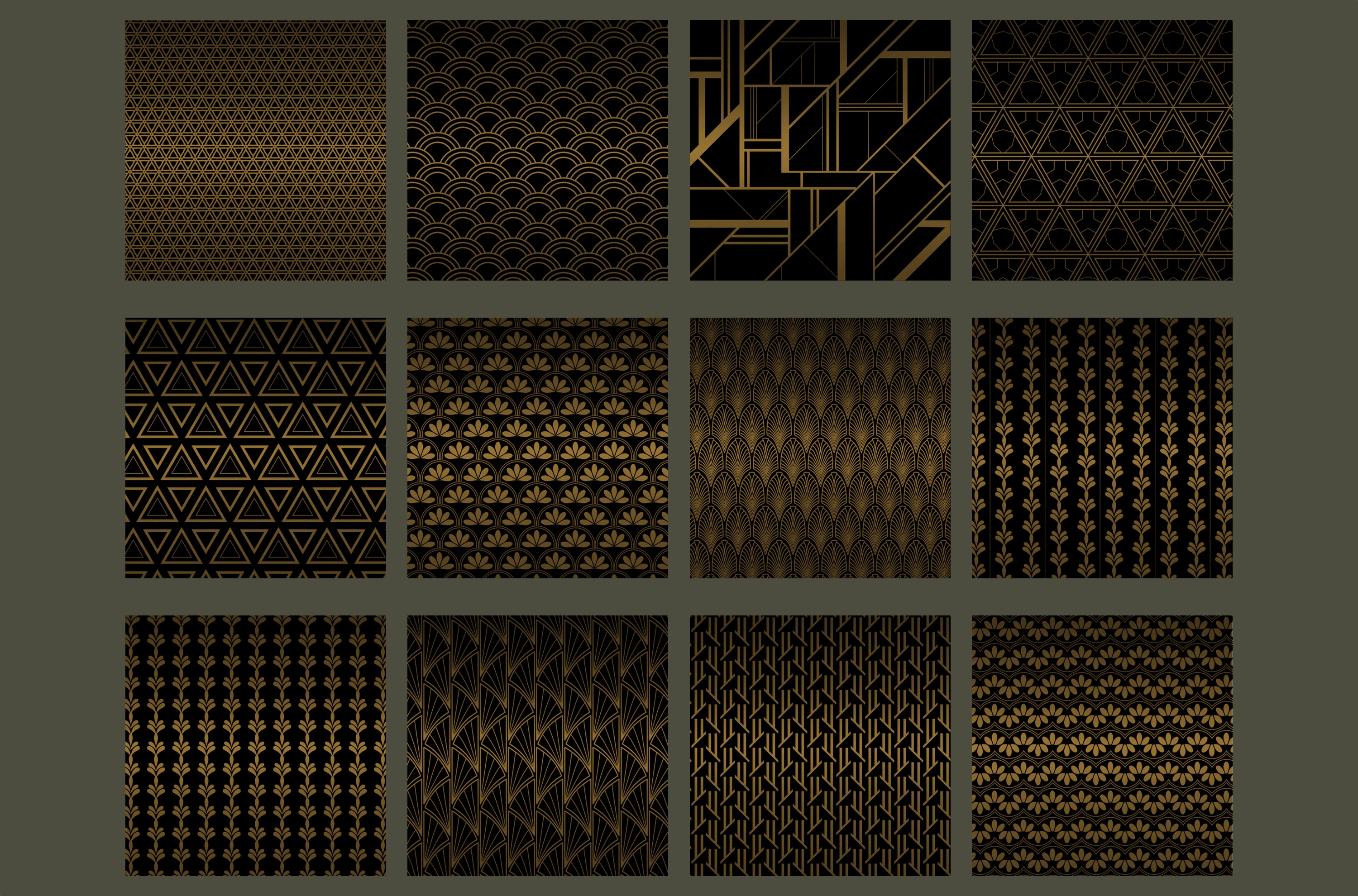 Black gold Art Deco backgrounds example image 2