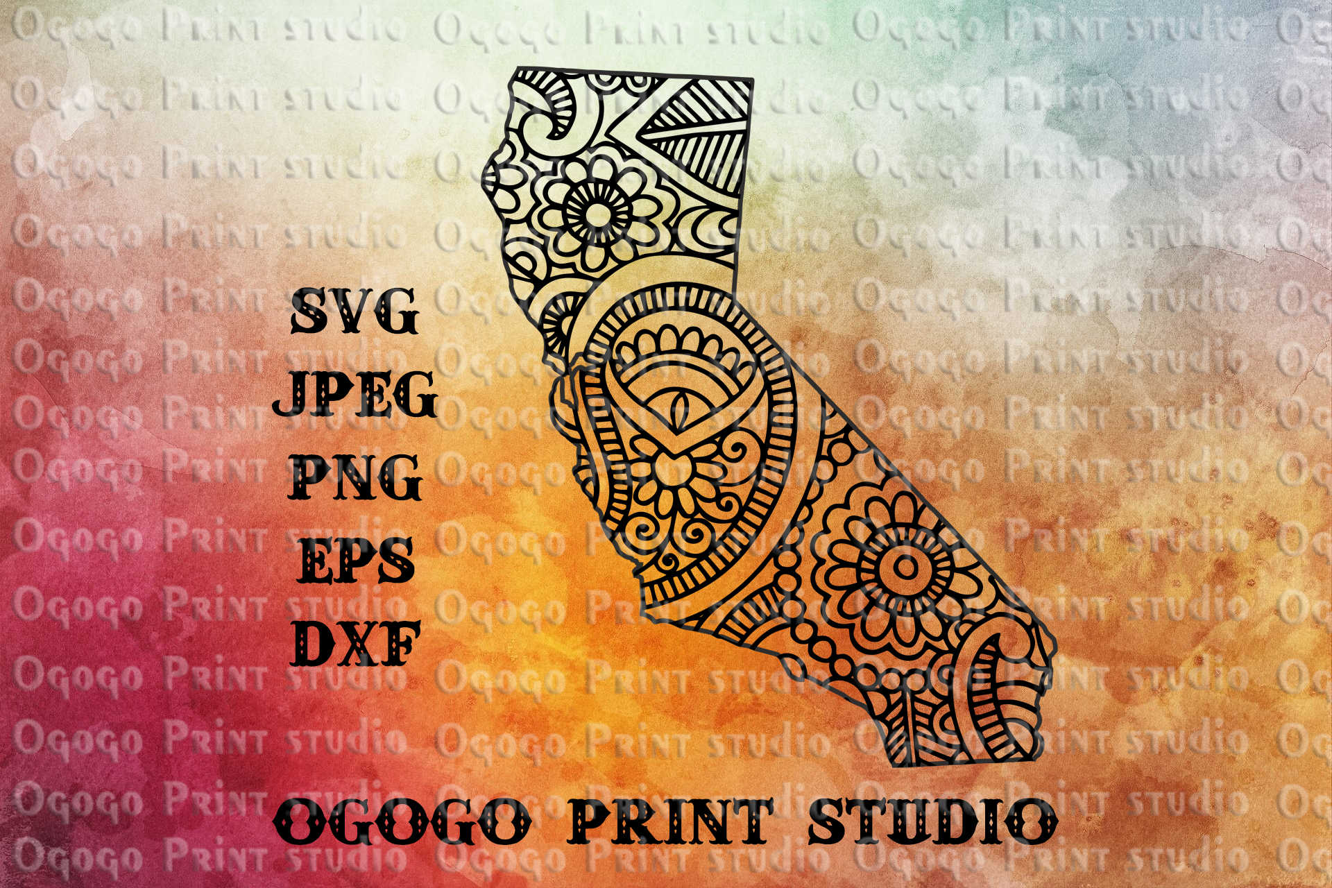 California SVG, Zentangle SVG, Travel svg, Mandala svg example image 1
