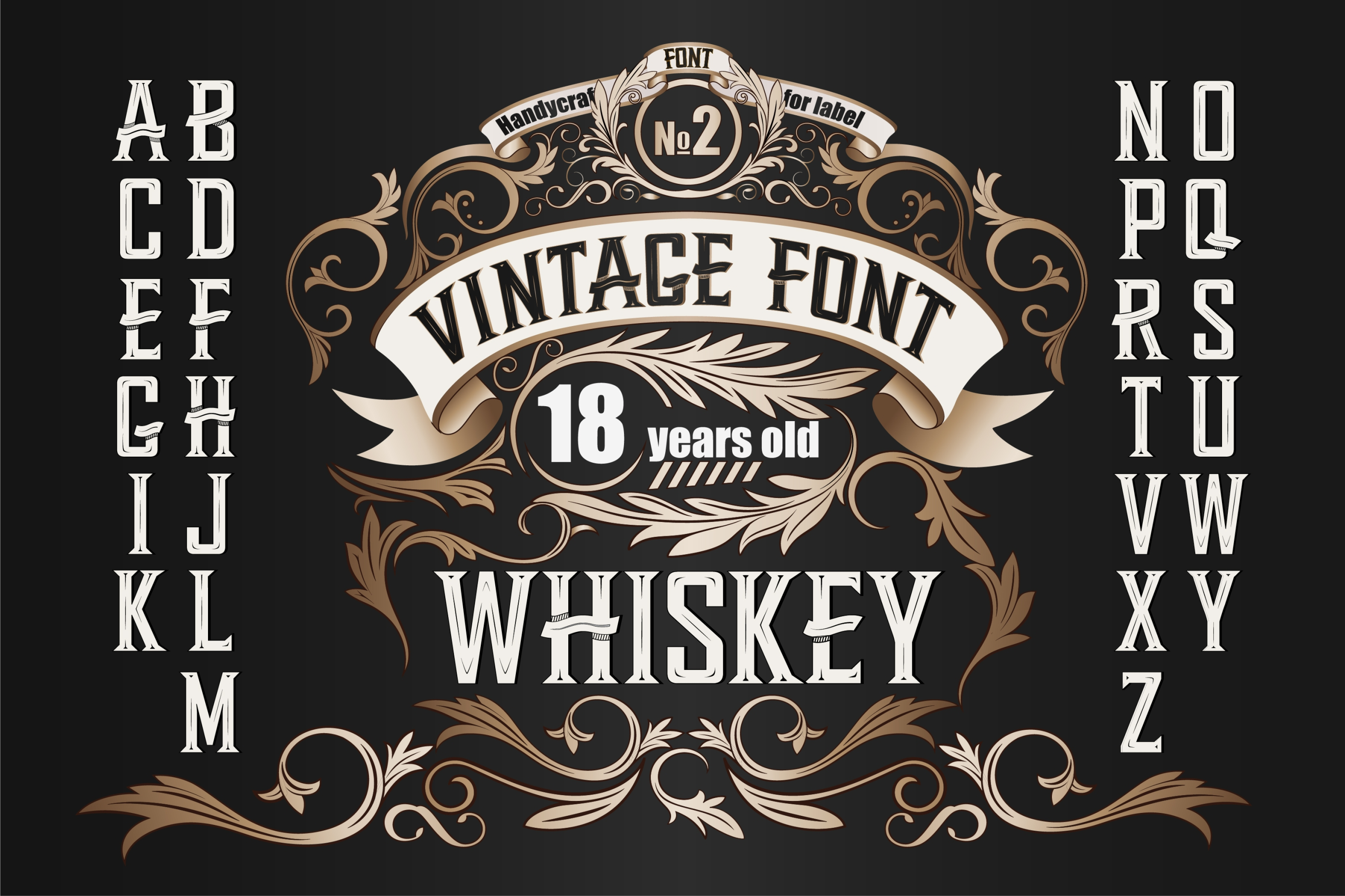 Whiskey OTF label font. Uppercase only! example image 1