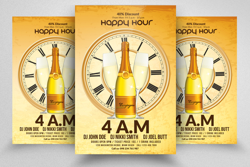 10 Happy Hour Flyer Template Bundle example image 11