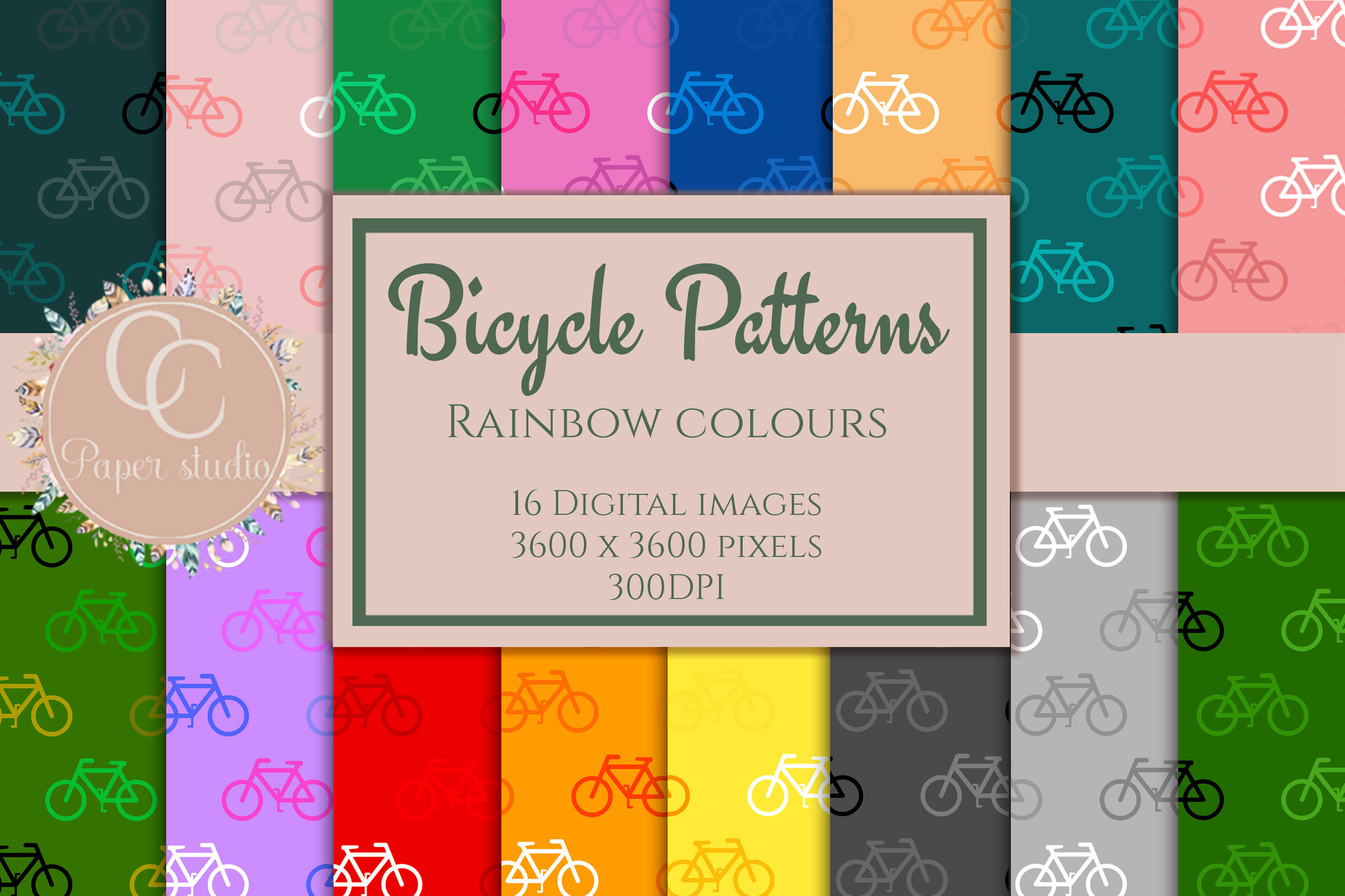16 Rainbow coloured bicycle pattern digital paper example image 1