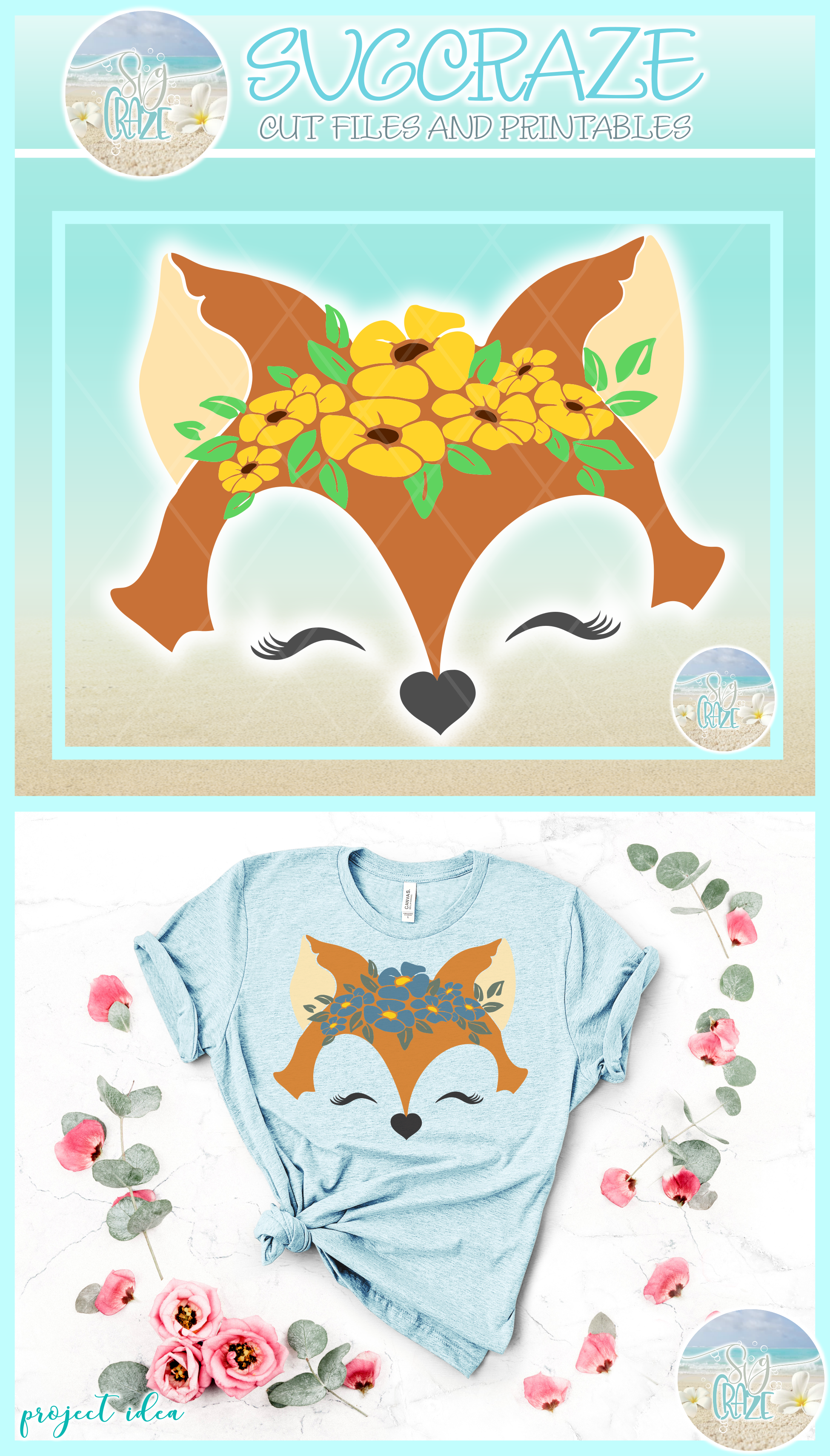 Fox Face With Flowers Svg Dxf Eps Png Svg Files example image 4