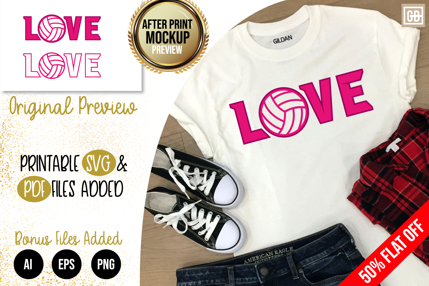 Love Volleyball SVG, EPS, PNG, PDF example image 1