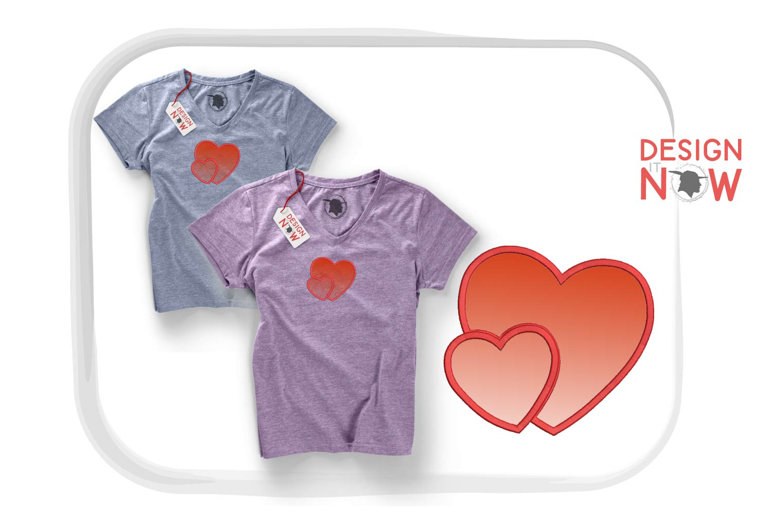 Heart Applique Embroidery Design, Heart Embroidery Pattern example image 1
